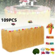 109pcs Tropical Hawaiian Luau Table Grass Skirts With Flowers BBQ Party Decors
