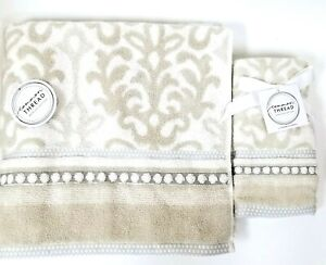 NEW COMMON THREAD BEIGE,GRAY,WHITE DAMASK PATTERN COTTON BATH OR 2 FINGERTIP