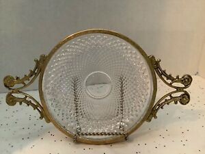 "Antique, Crystal Trinket/Vanity Plate With Gilt/Gold Rim & Handles - 5 3/4"""