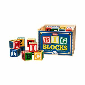 Large ABC Alphabet Wood blocks with wooden case Schylling ABL