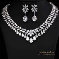 2 Tlg. Zirkonia AAA+ Schmuckset Halskette Ohrringe Brautschmuck XL Silber Weiss