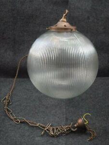 MULLAN PENDANT PRISMATIC GLOBE LIGHT ANTIQUE BRASS STYLE FITTINGS