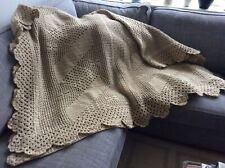 Vintage Wool Filet Crocheted Blanket