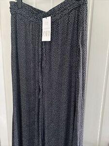 Bnwt- Zara Black And White Spot Wide Leg Trousers-XXL