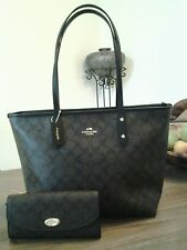 NWT Authentic Coach Signature City Zip Top Tote Bag With Wallet MSRP $545