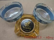 Vintage Las Vegas Glass Ashtray Lot of 3 Bonanza Hotel Thunderbird Casino 1960s