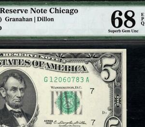 1963 $5 Chicago Federal Reserve Note FRN • PMG 68 EPQ • Fr.1967-G