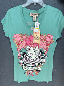 New Ed Hardy Women's short sleeve LADY IN ROSE LOVE *Green T-shirt Size: M -XL