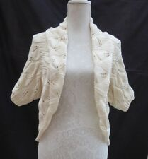 Oasis cream short sleeve holey/lacey knit bolero/cardigan Label M Size 12