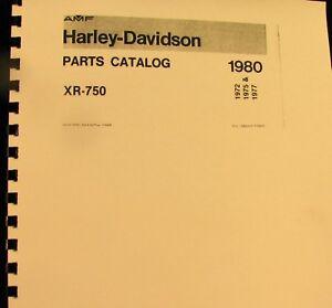 1972-75-77-1980 Harley-Davidson Parts Catalog For XR-750W/Suppllemen-#99442-73RD