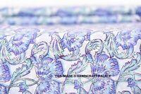 2.7m Indiano Mano Blocco Stampa Floreale Tessuto Puro Cotone Bambina Abito Voile