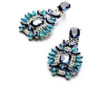 Fashion Jewelry Stud Earrings Elegant Shiny Chrystal Stone Blue Navy Gift