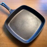 Vintage WAGNER WARE Square Cast Iron Skillet Fry Pan #1218 RESTORED - Spins