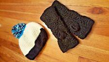 Wool Knit Fleece Lining Beanie Hat w/Pompom + Fingerless Gloves Black Cream Blue