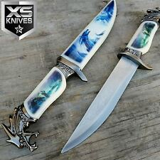 "13"" DRAGON HEAD DAGGER Hunting Knife COLLECTORS W/DECORATIVE DRAGON PRINT SHEATH"