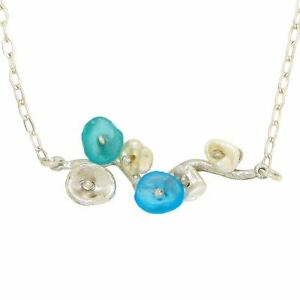 Drift Away Blue Pearl Bar Pendant Necklace by Michael Michaud Nature Silver Seas