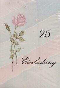 5 Einladungskarten Zur Silberhochzeit / Silbernen Hochzeit Mit Umschlag / Text