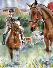 Giclee PRINT Thoroughbred Painting foxhunt Horse Art Shetland Pony watercolor