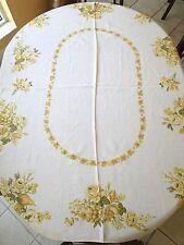 Vtg Retro Table Cloth Golden Yellows Roses Fruit Linen Shabby Mid-Century Chic