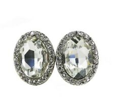 Clip on Earrings Oval Shaped with Crystals