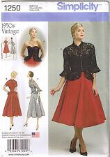 Vintage 50s Peplum Corset Dress Jacket Simplicity Sewing Pattern Sz 6 8 10 12 14
