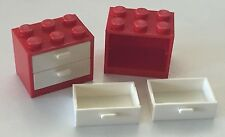 *NEW* 2 Sets Lego RED Container CUPBOARD 2x3x2 with WHITE DRAWERS 4532 4536