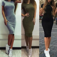 Women Cotton Knee-Length Skinny Office Dress Short Sleeve Bodycon Pencil Dres Rs