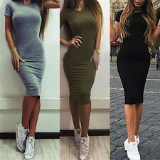 Women Cotton Knee-Length Skinny Office Dress Short Sleeve Bodycon Pencil Dress U