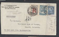 COLOMBIA 1930s REGISTERED SCADTA AIRMAIL COVER FRONT BARRANQUILLA TO BOGOTA