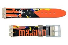 Swatch Replacement 17mm Plastic Watch Band Strap with Marilyn Design