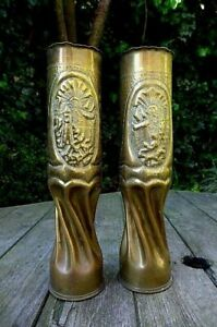WW1 PAIR TRENCH ART UNIQUE DESIGN VASE DATE 16' Home Art Military Collector