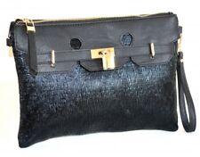 BOLSA mujer pochette negro oro elegante bolso eco cuero ceremonia bag сумка H55