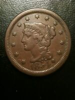 1854 Braided Hair Large One Cent VF Very Fine Penny Liberty Newcomb Variety