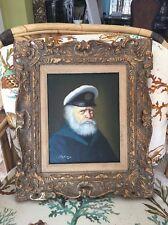 Original  Pelbam Oil on Canvas Painting Sea Captain Nautical Vintage Frame