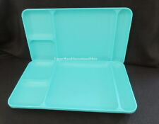 Tupperware Brand New Set of 2 Aqua Blue Divided Lunch Luncheon Trays