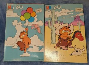 Vintage Milton Bradley Garfield 60 Piece Puzzles - Set of Two