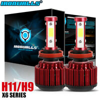 CREE 4-Side H11 H9 H8 LED Headlight Bulb Kit High Low Beam 2500W 375000LM 6000K