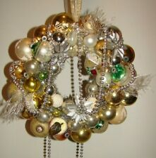 Vintage Ornament Christmas Wreath Holiday Kitsch Gold Silver