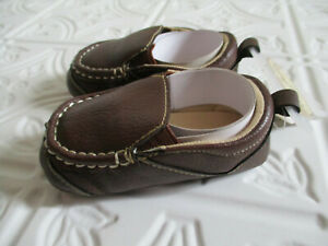 NWT Riseing Star Faux Brown Leather Slip On Shoes Infant Boys Size 3 (9-12 Month