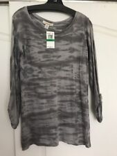 Solow So Low Gray And White Supima Cotton Long Sleeve Tunic Top SzL NWT $85