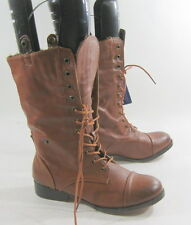 """Women Size 7    NEW Tan 1""""Heel  Lace Up Combat Round Toe Sexy Mid-Calf Boot"""