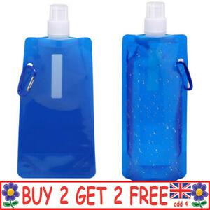 0.5L Ultralight Foldable Water Bag Flask Bottle Outdoor Sport Hiking Camping JP