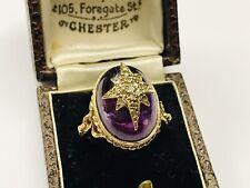 Stunning 9ct gold amethyst & Diamond Victorian style ring, 8.2 grams 9k size P