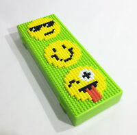 Emoji Brick Pencil Case or LEGO Minifigure Holder Building Blocks DIY minifig