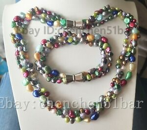 chame 3 Stränge 6-9mm Mehrfarben Barock Süßwasser Perlen Twist Halskette Armband