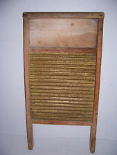 Vintage Old Wooden Brass Washboard