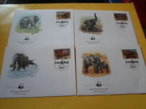 Uganda 1983 Wwf Elephant 4 FDC First Day Covers
