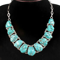 Natural turquoise Gemstone Handmade Fasion Jewelry Silver Necklaces