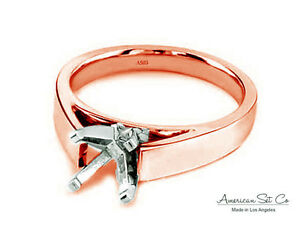 18K Rose Gold Ring Setting Cathedral Solitaire Semi Mount Diamond Engagement