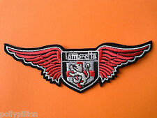 SCOOTER RALLY SEW ON / IRON ON PATCH:- LAMBRETTA ENGLAND LION ST GEORGE'S WINGS